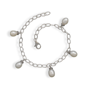 "7"" Rhodium Plated Cultured Freshwater Pearl Drop Bracelet 925 Sterling Silver- DISCONTINUED"