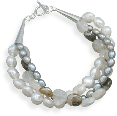 "8"" Triple Strand Cultured Freshwater Pearl and Quartz Bracelet 925 Sterling Silver"
