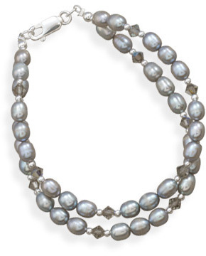 "7.5"" Double Strand Cultured Freshwater Pearl and Crystal Bracelet 925 Sterling Silver - DISCONTINUED"