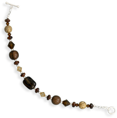 Multi Stone and Wood Bead Toggle Bracelet 925 Sterling Silver