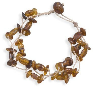 "8"" Triple Strand Cord Bracelet with Baltic Amber Beads"