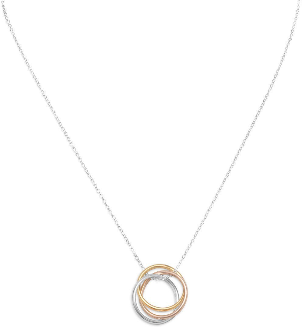 "16"" Necklace with Tri Tone Rings 925 Sterling Silver"