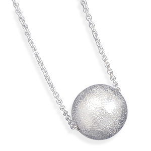 "18"" Necklace with Textured Bead 925 Sterling Silver - DISCONTINUED"