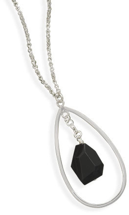 "17.5"" Black Onyx Drop Necklace 925 Sterling Silver"