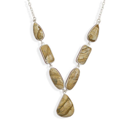 "18"" Picture Jasper Drop Necklace 925 Sterling Silver - DISCONTINUED"