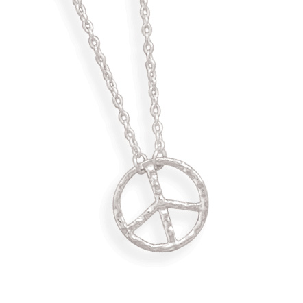 "16"" Peace Sign Necklace 925 Sterling Silver - DISCONTINUED"