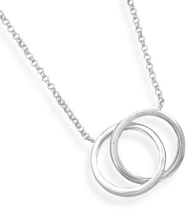 "16""+2""Extension Rhodium Plated Double Ring Necklace 925 Sterling Silver - DISCONTINUED"