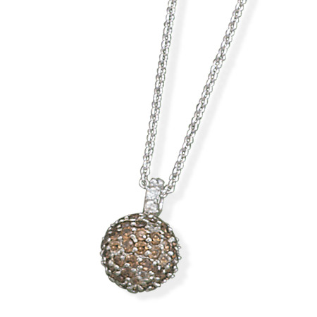 "16"" Rhodium Plated Chocolate CZ Necklace 925 Sterling Silver - DISCONTINUED"