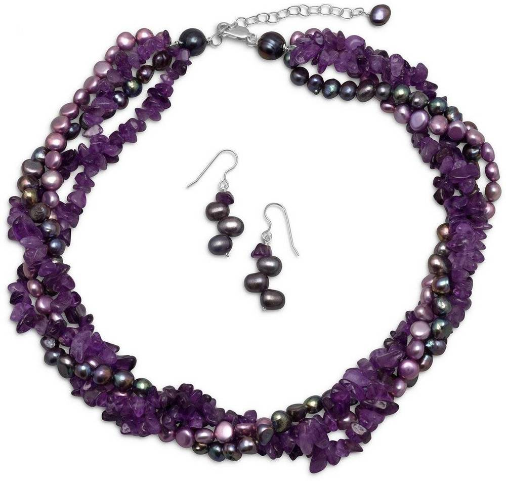 Amethyst and Cultured Freshwater Pearl Necklace and Earring Set 925 Sterling Silver