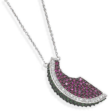 "17""+1.5""Extension Rhodium Plated Necklace with CZ Pendant 925 Sterling Silver"