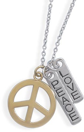 "16""+2""Extension Necklace with ""Love"" and ""Peace"" Charms 925 Sterling Silver"