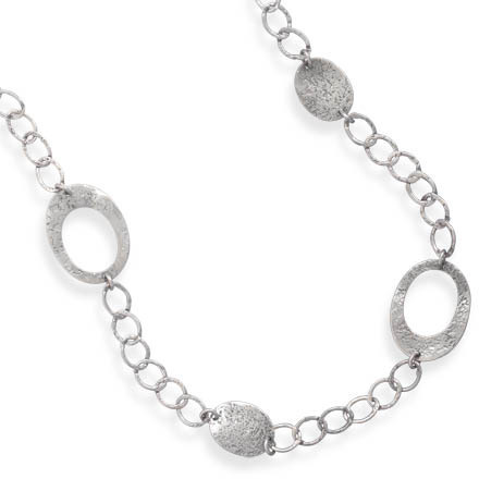 "27"" Textured Oval Link Necklace 925 Sterling Silver"