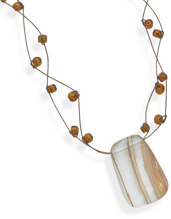 "16""+2""Extension Double Strand Necklace with Rutilated Quartz Pendant 925 Sterling Silver"