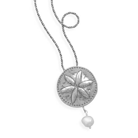 "18"" Necklace with Sand Dollar and Cultured Freshwater Pearl - DISCONTINUED 925 Sterling Silver"
