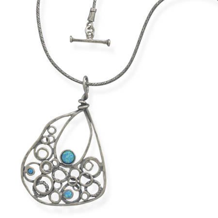 "18"" Necklace with Oxidized Abstract Drop Pendant 925 Sterling Silver - DISCONTINUED"