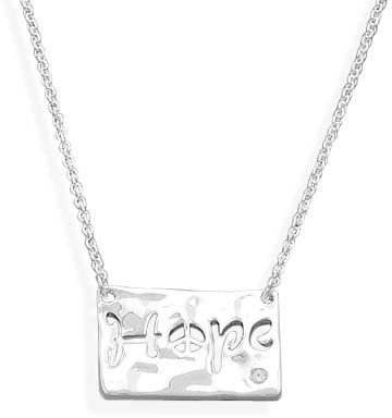 "16"" + 2"" Necklace with Hope Pendant 925 Sterling Silver"