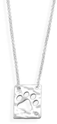"16"" Necklace with Paw Print Cut Out Pendant 925 Sterling Silver"