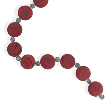 "18"" + 2"" Red and Grey Shell Disk Necklace 925 Sterling Silver - DISCONTINUED"