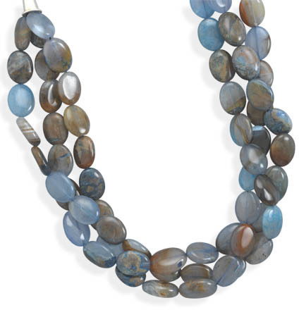 "19"" Triple Strand Blue Agate Necklace 925 Sterling Silver"