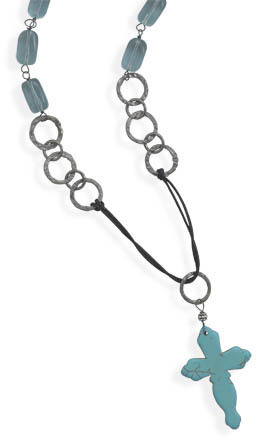"32"" Cord and Blue Quartz Necklace with Howlite Cross Drop"