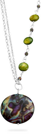 "16"" Multicolor Shell Necklace 925 Sterling Silver - DISCONTINUED"