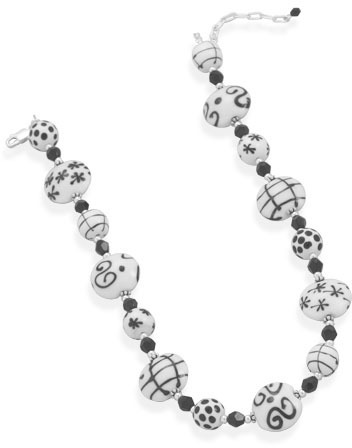 "16"" + 2"" Lampwork Bead and Czech Crystal Necklace 925 Sterling Silver"