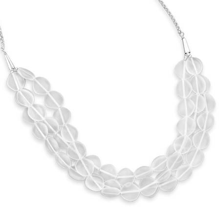 "17"" + 2"" Triple Strand Crystal Necklace 925 Sterling Silver"