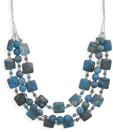 "16"" + 2"" Triple Strand Blue Agate and Crystal Necklace 925 Sterling Silver"