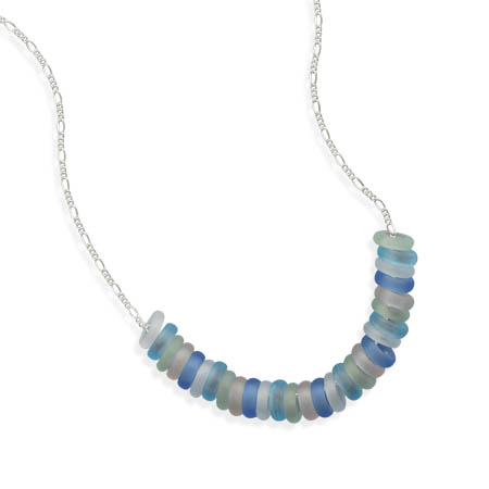 "16"" + 2"" Multicolor Matte Crystal Necklace - DISCONTINUED 925 Sterling Silver"