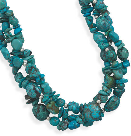 "17"" + 2"" Multistrand Turquoise Necklace 925 Sterling Silver"