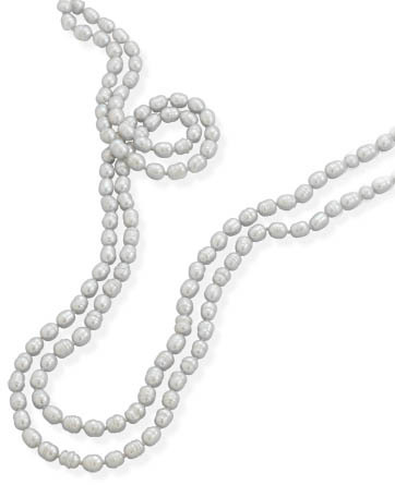 "64"" Knotted Silver Cultured Freshwater Pearl Necklace"