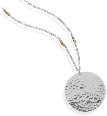 "30"" Sterling Silver Necklace with Hammered Pendant"