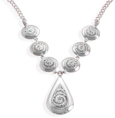 "16"" Link Necklace with multishape oxidized ornate design 925 Sterling Silver"