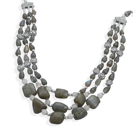 "19"" Multistrand Labradorite Necklace 925 Sterling Silver - DISCONTINUED"