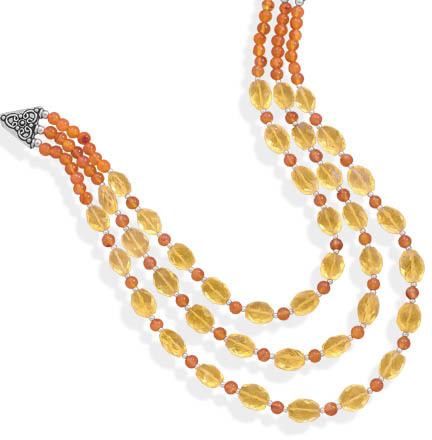 "18"" Multistrand Carnelian and Citrine Necklace 925 Sterling Silver"