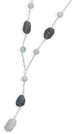 "19"" Iolite and Rainbow Moonstone Necklace 925 Sterling Silver"