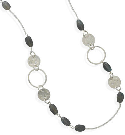 "28"" Labradorite Bead Necklace 925 Sterling Silver"