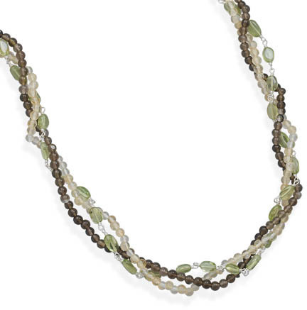 "16"" + 2"" Multistrand Multistone Necklace 925 Sterling Silver"