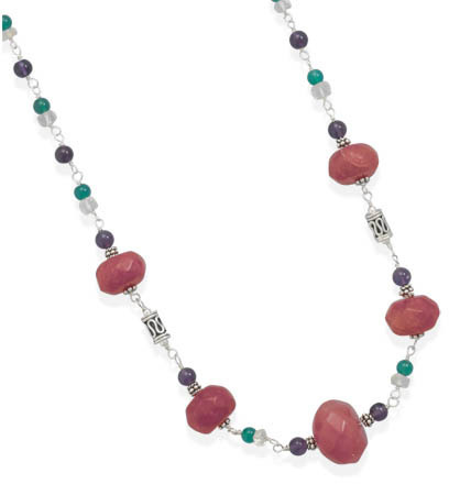 "18"" + 2"" Multistone Bead Necklace 925 Sterling Silver"
