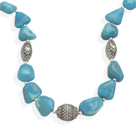 "18"" Turquoise Nugget Necklace 925 Sterling Silver- DISCONTINUED"