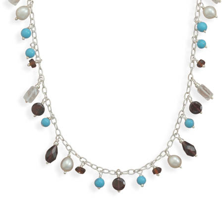 "18"" Turquoise and Multistone Necklace 925 Sterling Silver - DISCONTINUED"