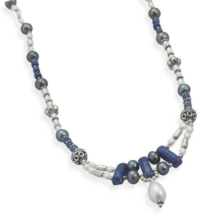 "16"" + 1.5"" Lapis and Cultured Freshwater Pearl Necklace 925 Sterling Silver"