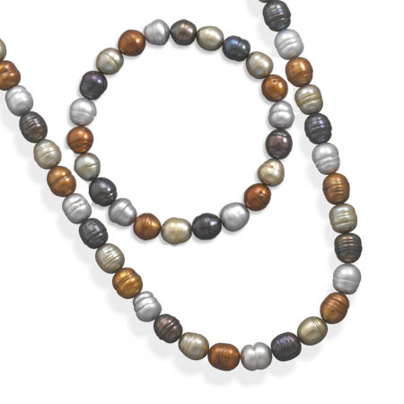 SET: Multicolor Freshwater Pearl Necklace and Bracelet 925 Sterling Silver - DISCONTINUED