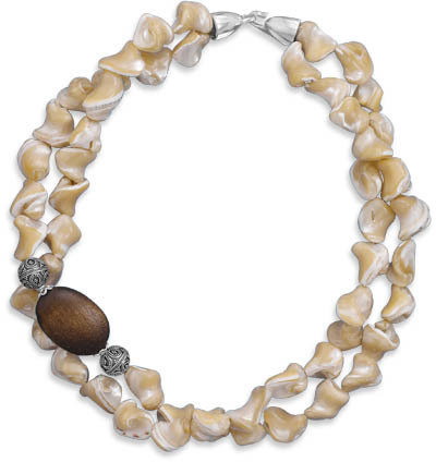 "16"" Double Strand Shell and Wood Bead Necklace 925 Sterling Silver"
