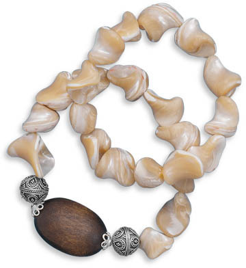 "7"" Double Strand Shell and Wood Bead Stretch Bracelet 925 Sterling Silver"