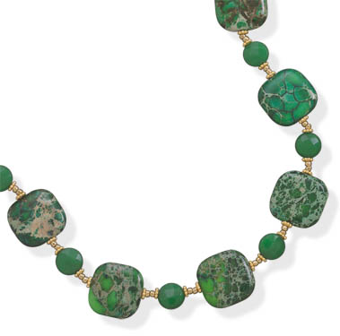 "16""+2"" 14/20 Gold Filled Green Jasper and Jade Necklace - DISCONTINUED"