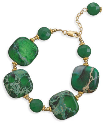 "7""+1"" 14/20 Gold Filled Green Jasper and Jade Bracelet - DISCONTINUED"