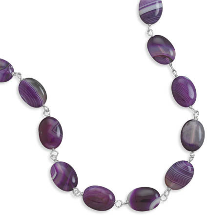 "17"" Dyed Purple Agate Necklace 925 Sterling Silver"