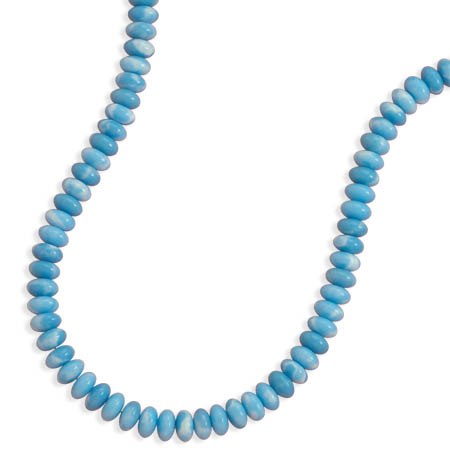 "18"" Larimar Bead Necklace 925 Sterling Silver - DISCONTINUED"