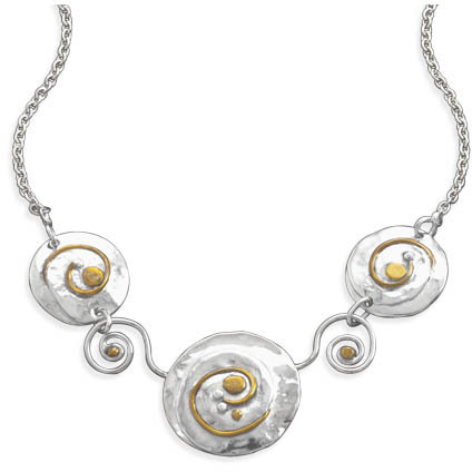 16.5+1.5 Two Tone Swirl Design Necklace 925 Sterling Silver